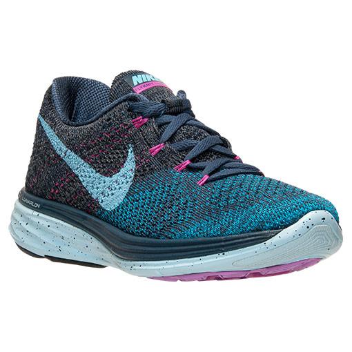 Nike Flyknit Lunar 3 Running Shoes for Women - Squadron Blue/Clearwater/Blue Legion
