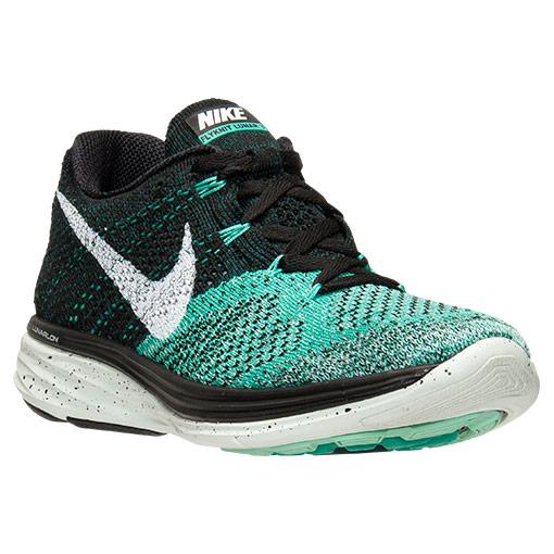 Nike Flyknit Lunar 3 Running Shoes for Women - Black/Green Glow/Atomic Teal