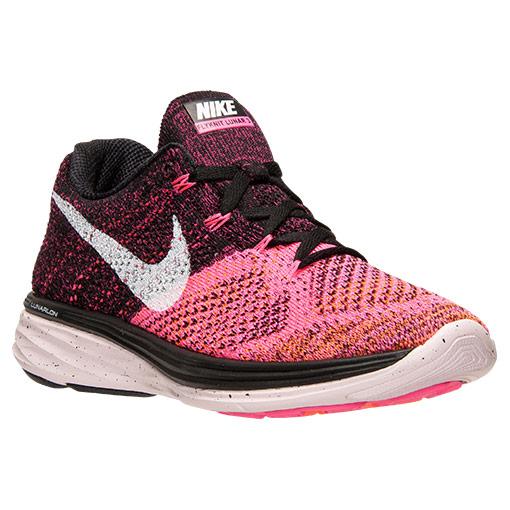 Nike Flyknit Lunar 3 Running Shoes for Women - Black/White/Pink Pow